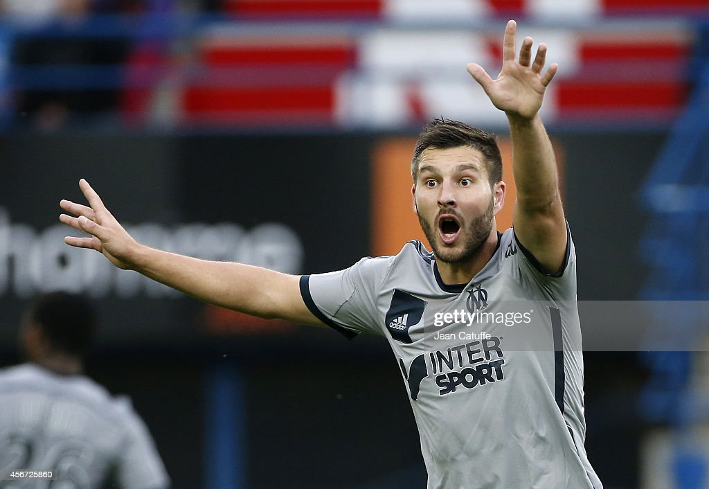 <a gi-track='captionPersonalityLinkClicked' href=/galleries/search?phrase=Andre-Pierre+Gignac&family=editorial&specificpeople=1272457 ng-click='$event.stopPropagation()'>Andre-Pierre Gignac</a> of OM reacts during the French Ligue 1 match between Stade Malherbe de Caen and Olympique de Marseille at Stade Michel D'Ornano on October 4, 2014 in Caen, France.