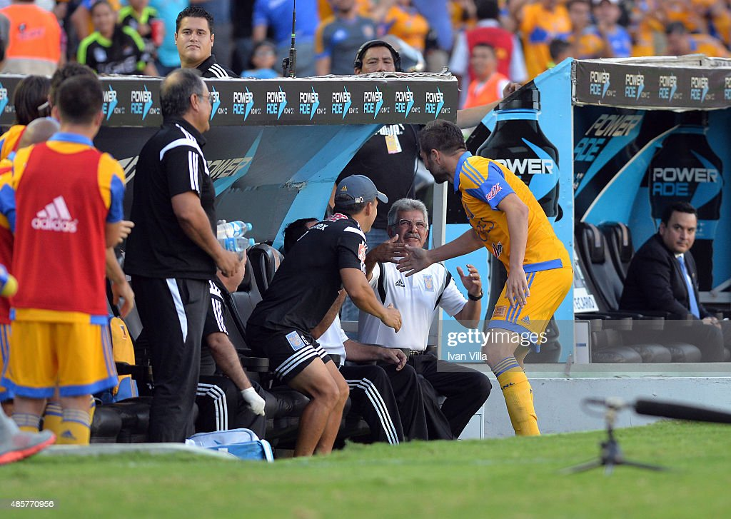 <a gi-track='captionPersonalityLinkClicked' href=/galleries/search?phrase=Andre-Pierre+Gignac&family=editorial&specificpeople=1272457 ng-click='$event.stopPropagation()'>Andre-Pierre Gignac</a> of Tigres celebrates after scoring the third goal of his team during a 7th round match between Tigres UANL and Queretaro as part of the Apertura 2015 Liga MX at Universitario Stadium on August 29, 2015 in Monterrey, Mexico.