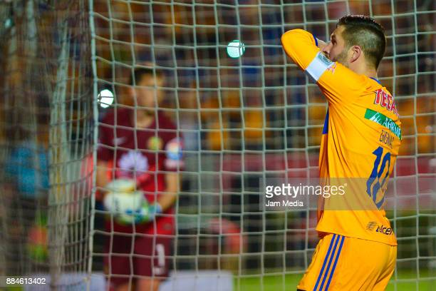 AndrePierre Gignac of Tigres celebrates after scoring the third goal of his team during the semifinal second leg match between Tigres UANL and...