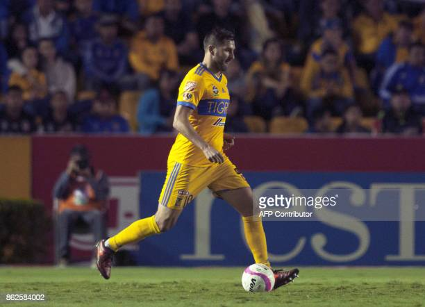 AndrePierre Gignac of Tigres controls the ball during their Mexican Apertura 2017 tournament football match against Veracruz at the Universitario...