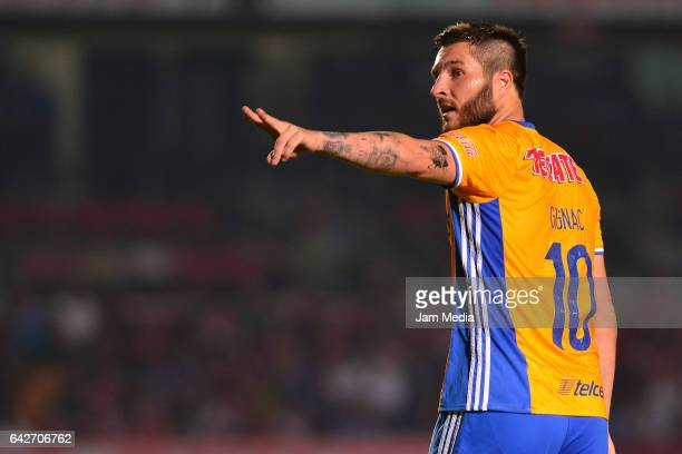 Andrepierre Gignac of Tigres signals during the 7th round match between Veracruz and Chiapas as part of the Torneo Clausura 2017 Liga MX at Luis...