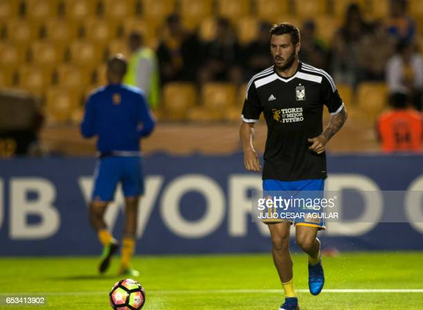 AndrePierre Gignac of Tigres warms up before the start of their CONCACAF Champions League first leg semifinal football match against Canadas...