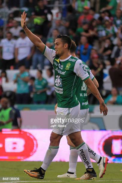 Andres Andrade of Leon celebrates after scoring the third goal of his team during the 9th round match between Leon and Pachuca as part of the Torneo...