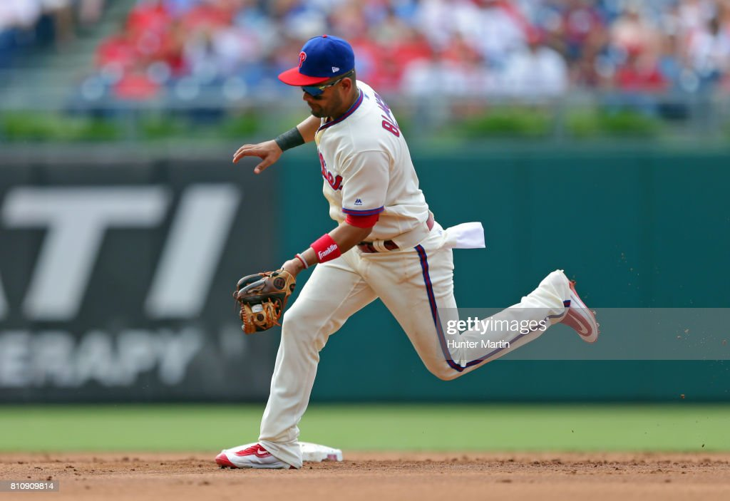 Andres Blanco #4 fields a ground ball in the third inning during a game against the San Diego Padres at Citizens Bank Park on July 8, 2017 in Philadelphia, Pennsylvania. The Padres won 2-1.