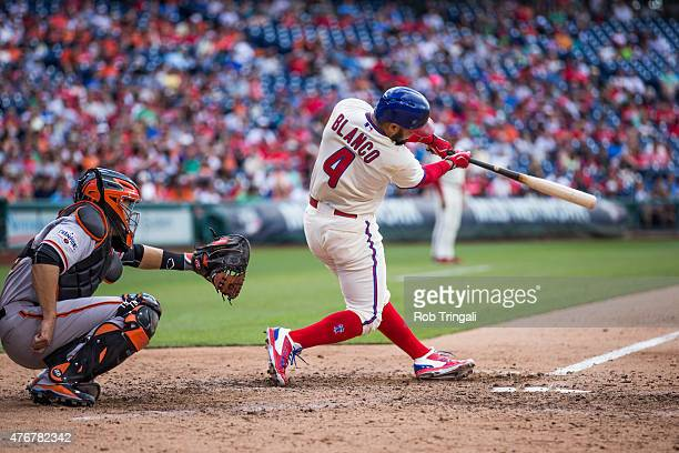 Andres Blanco of the Philadelphia Phillies bats during the game against the San Francisco Giants at Citizens Bank Park on June 6 2015 in Philadelphia...