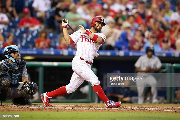 Andres Blanco of the Philadelphia Phillies bats during the game against the Tampa Bay Rays at Citizens Bank Park on July 21 2015 in Philadelphia PA...
