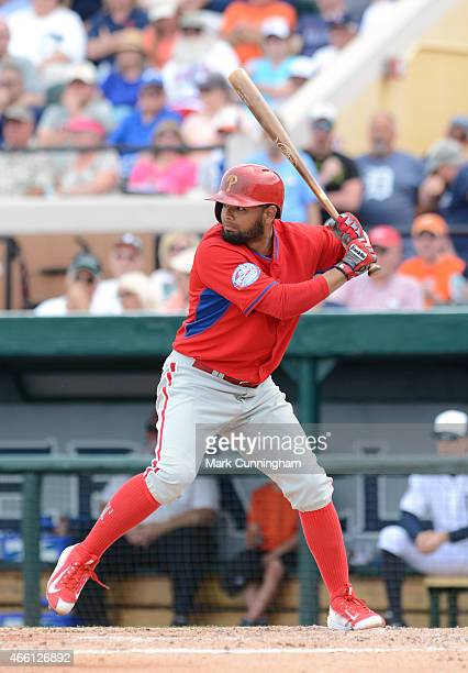 Andres Blanco of the Philadelphia Phillies bats during the Spring Training game against the Detroit Tigers at Joker Marchant Stadium on March 12 2015...