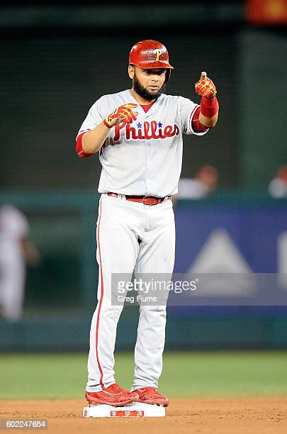 Andres Blanco of the Philadelphia Phillies celebrates after hitting a double in the eighth inning against the Washington Nationals at Nationals Park...