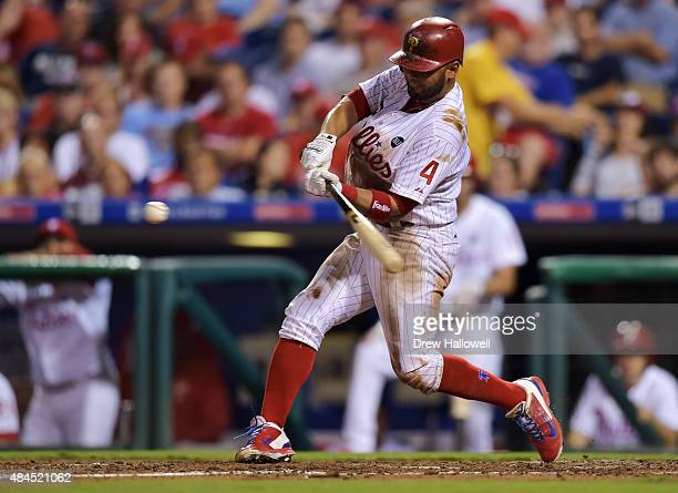 Andres Blanco of the Philadelphia Phillies hits a home run in the fifth inning against the Toronto Blue Jays at Citizens Bank Park on August 19 2015...