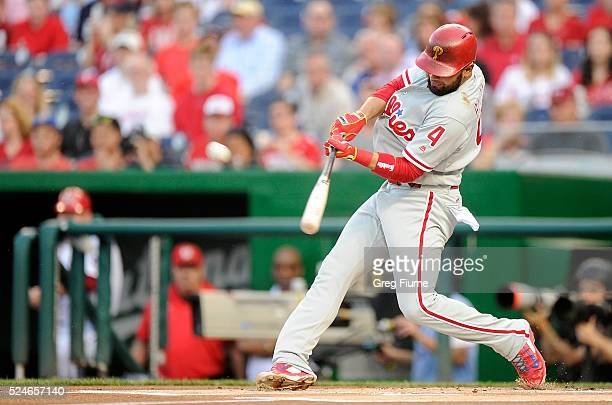 Andres Blanco of the Philadelphia Phillies hits a tworun home run in the first inning against the Washington Nationals at Nationals Park on April 26...