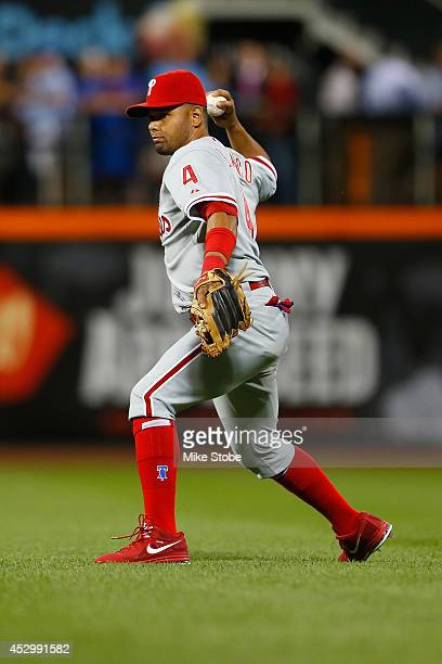 Andres Blanco of the Philadelphia Phillies in action against the New York Mets on July 28 2014 at Citi Field in the Flushing neighborhood of the...