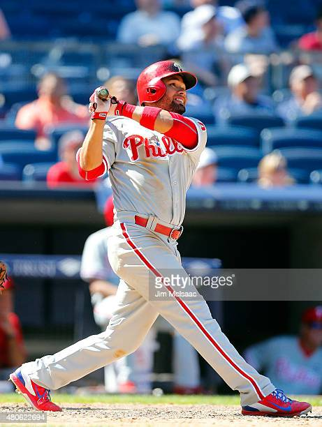 Andres Blanco of the Philadelphia Phillies in action against the New York Yankees at Yankee Stadium on June 24 2015 in the Bronx borough of New York...