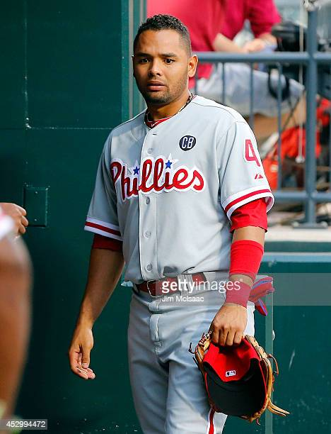 Andres Blanco of the Philadelphia Phillies looks on before a game against the New York Mets at Citi Field on July 29 2014 in the Flushing...