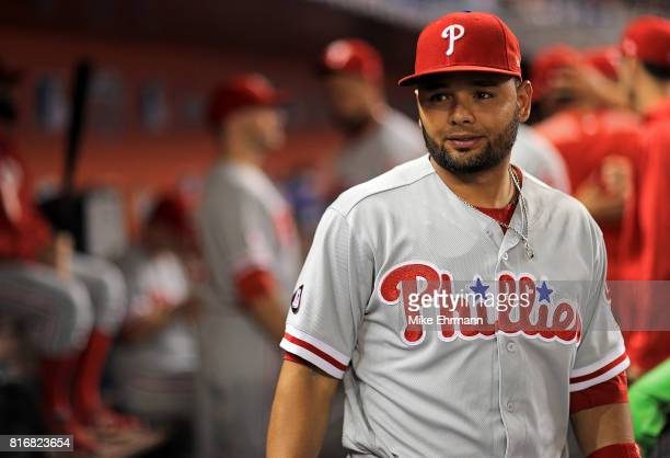 Andres Blanco of the Philadelphia Phillies looks on during a game against the Miami Marlins at Marlins Park on July 17 2017 in Miami Florida