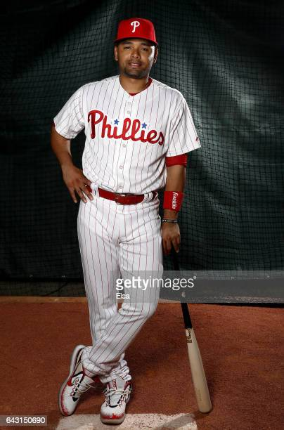 Andres Blanco of the Philadelphia Phillies poses for a portrait during the Philadelphia Phillies photo day on February 20 2017 at Spectrum Field in...