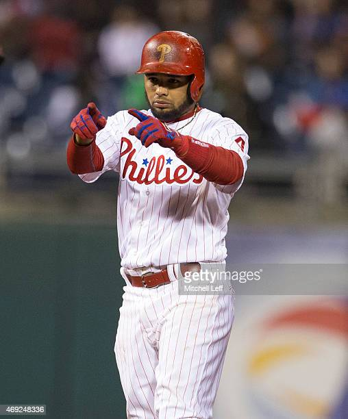 Andres Blanco of the Philadelphia Phillies reacts after hitting a double in the bottom of the fifth inning against the Washington Nationals on April...
