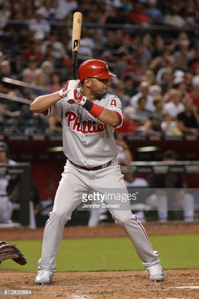 Andres Blanco of the Philadelphia Phillies stands at bat against the Arizona Diamondbacks at Chase Field on June 23 2017 in Phoenix Arizona The...