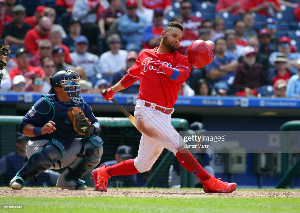 Andres Blanco #4 of the Philadelphia Phillies swings and misses a pitch in the sixth inning during a game against the Seattle Mariners at Citizens Bank Park on May 10, 2017 in Philadelphia, Pennsylvania. The Mariners won 11-6.