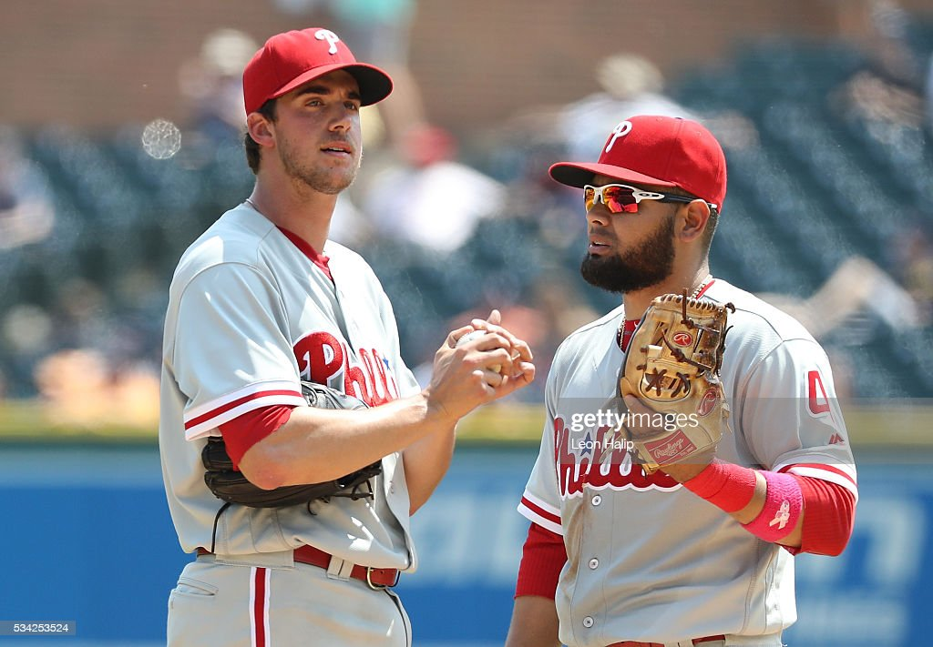 <a gi-track='captionPersonalityLinkClicked' href=/galleries/search?phrase=Andres+Blanco&family=editorial&specificpeople=235346 ng-click='$event.stopPropagation()'>Andres Blanco</a> #4 of the Philadelphia Phillies talks with <a gi-track='captionPersonalityLinkClicked' href=/galleries/search?phrase=Aaron+Nola&family=editorial&specificpeople=10891411 ng-click='$event.stopPropagation()'>Aaron Nola</a> #27 during the fifth inning of the inter-league game against the Detroit Tigers on May 25, 2016 at Comerica Park in Detroit, Michigan.