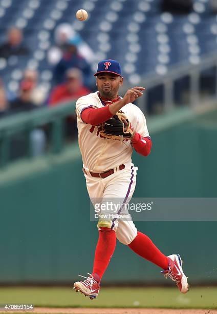 Andres Blanco of the Philadelphia Phillies throws to first base in the in the second inning against the Miami Marlins at Citizens Bank Park on April...