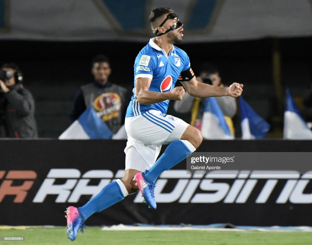 Andres Cadavid of Millonarios celebrates after scoring the first goal of his team during the match between Millonarios and Independiente Santa Fe as part of the Liga Aguila 2017 at Nemesio Camacho El Campin Stadium on March 19, 2017 in Bogota, Colombia.