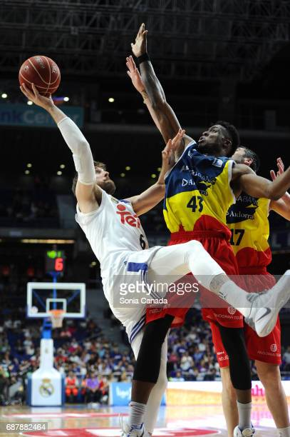 Andres 'Chapu' Nocioni #6 forward of Real Madrid and Antetokounmpo #43 center of Andorra during the Liga Endesa Play off game between Real Madrid and...