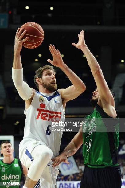 Andres 'Chapu' Nocioni #6 forward of Real Madrid during the Liga Endesa game between Real Madrid and Divina Seguros Joventut at Barclaycard Center on...