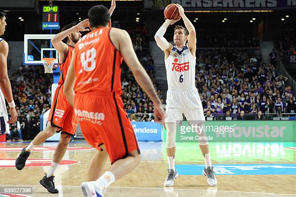 Andres 'Chapu' Nocioni #6 forward of Real Madrid in action during the Liga Endesa game between Real Madrid and Valencia Basket at Barclaycard Center...