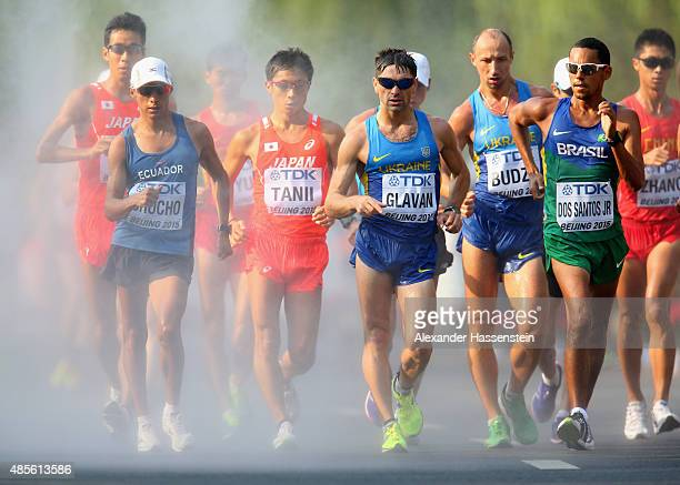Andres Chocho of Ecuador Takayuki Tanii of Japan Igor Glavan of Ukraine and Mario Jose Dos Santos Jr of Brazil compete in the Men's 50km Race Walk...