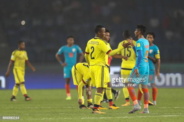 Andres Cifuentes of Colombia and Aniket Jadhav of India shake hands after the FIFA U17 World Cup India 2017 group A match between India and Colombia...