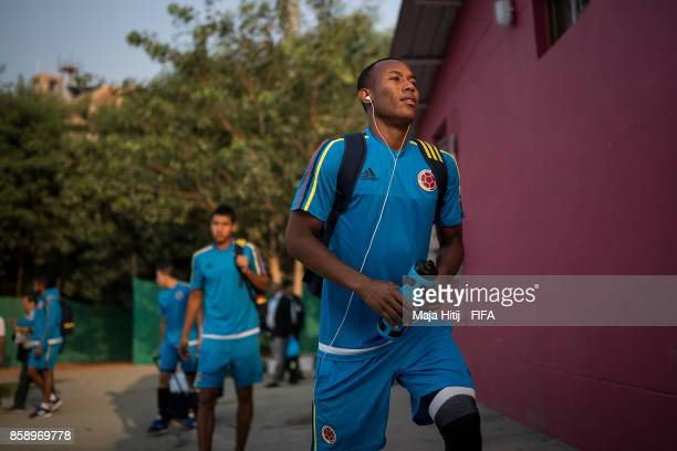 Andres Cifuentes of Columbia arrives to the training ahead of the FIFA U17 World Cup India 2017 tournament at on October 6 2017 in New Delhi India