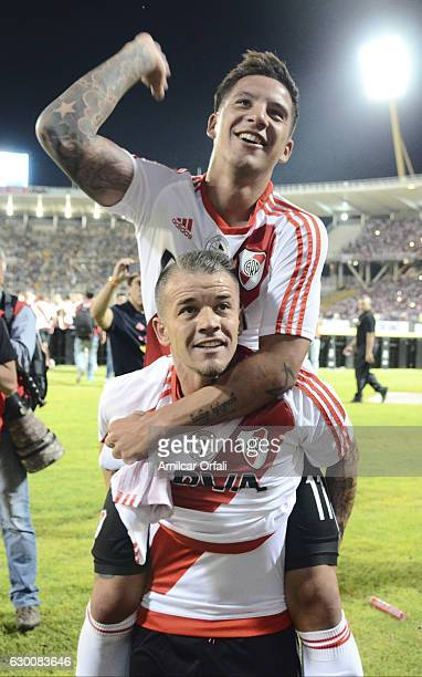 Andres D'Alessandro and Sebastian Driussi of River Plate celebrate the championship after a final match between River Plate and Rosario Central as...