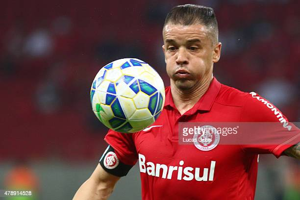 Andres Dalessandro of Internacional during the match between Internacional and Santos as part of Brasileirao Series A 2015 at Estadio BeiraRio on...