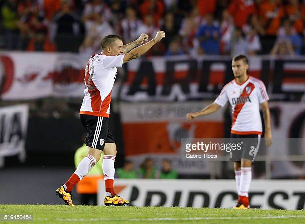 Andres Dalessandro of River Plate celebrates after scoring the opening goal during a match between River Plate and The Strongest as part of Copa...
