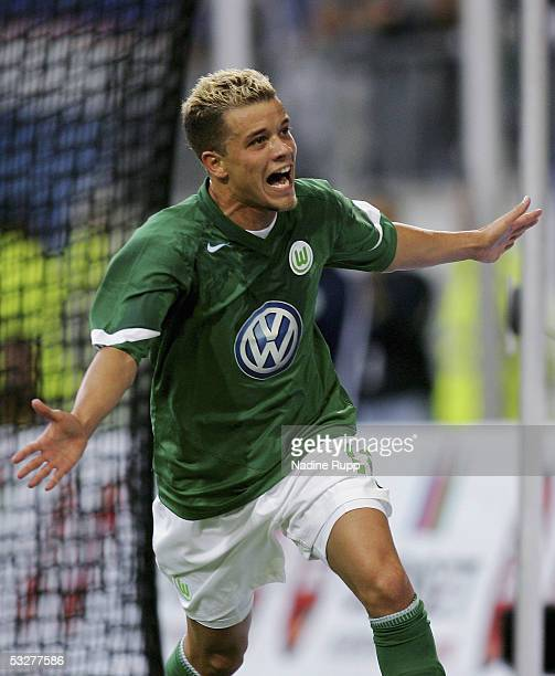 Andres D`Alessandro of Wolfsburg celebrates scoring a goal during the UEFA Intertoto Cup third round match between VFL Wolfsburg and IFK Goteborg at...
