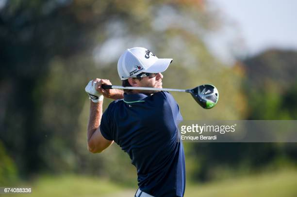 Andres Echavarria of Colombia tees off on the 18th hole during the second round of the PGA TOUR Latinoamérica Honduras Open presented by Indura Golf...