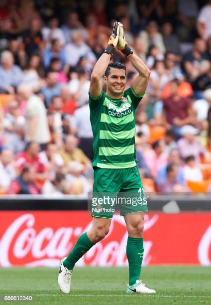 Andres Fernandez of Villarreal CF celebrates after scoring his team during their La Liga match between Valencia CF and Villarreal CF at the Mestalla...