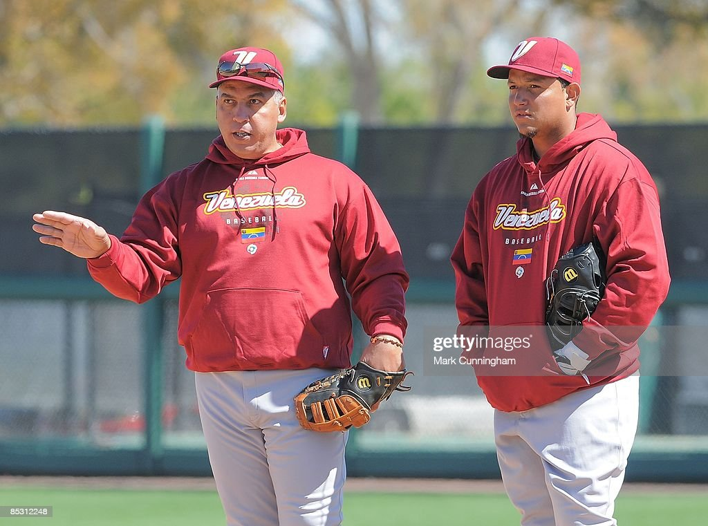 Andres Galarraga and Miguel Cabrera of Team Venezuela look on before the exhibition spring training game against the Detroit Tigers at Joker Marchant...
