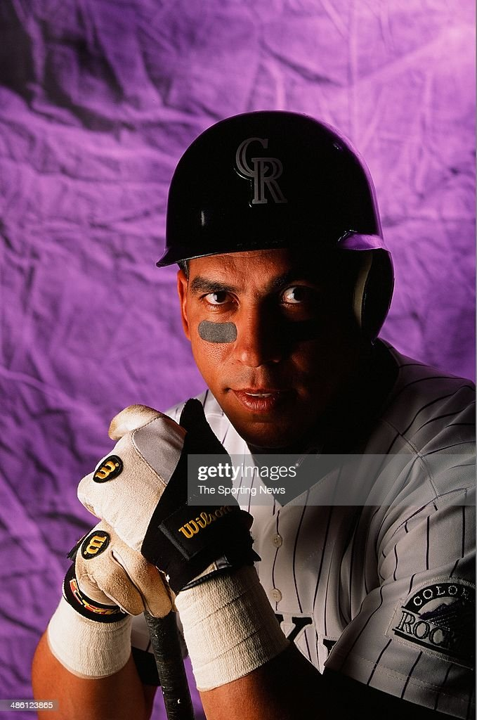 Andres Galarraga for the Colorado Rockies poses for a portrait on September 12 1996