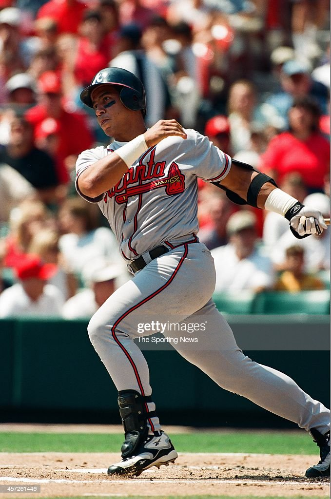 Andres Galarraga of the Atlanta Braves bats against the St Louis Cardinals at Busch Stadium on August 29 1998 in St Louis Missouri