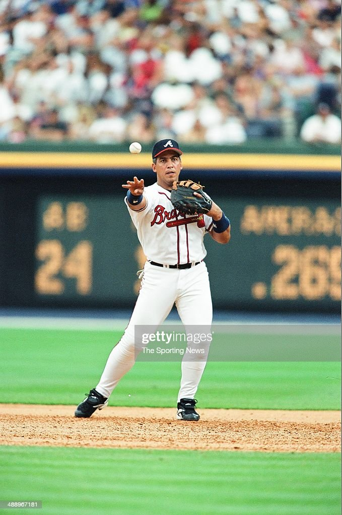 Andres Galarraga of the Atlanta Braves fields against the New York Yankees at Turner Field on June 4 2000 in Atlanta Georgia The Yankees defeated the...