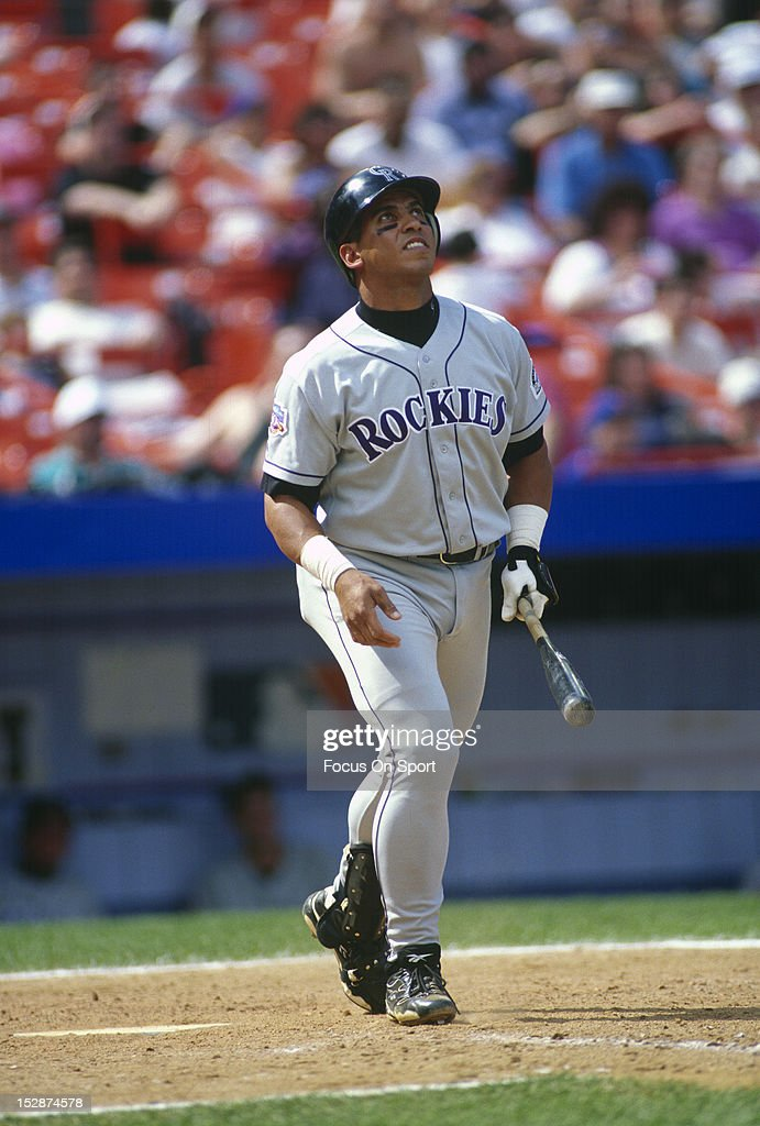Andres Galarraga of the Colorado Rockies bats against the New York Mets during an Major League Baseball game circa 1997 at Shea Stadium in the Queens...