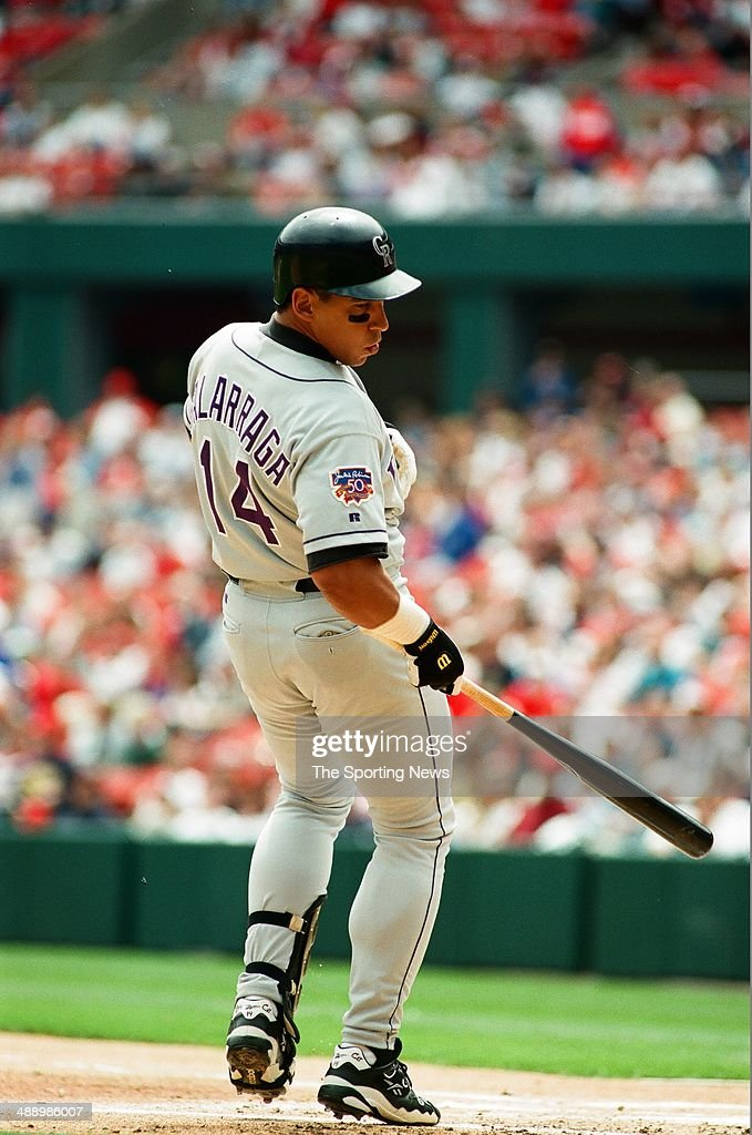 Andres Galarraga of the Colorado Rockies bats against the St Louis Cardinals at Busch Stadium on April 26 1997 in St Louis Missouri The Rockies...