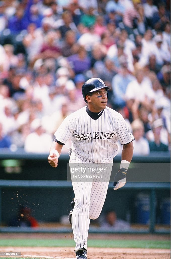 Andres Galarraga of the Colorado Rockies runs against the Atlanta Braves at Coors Field on September 12 1996 in Denver Colorado The Rockies defeated...