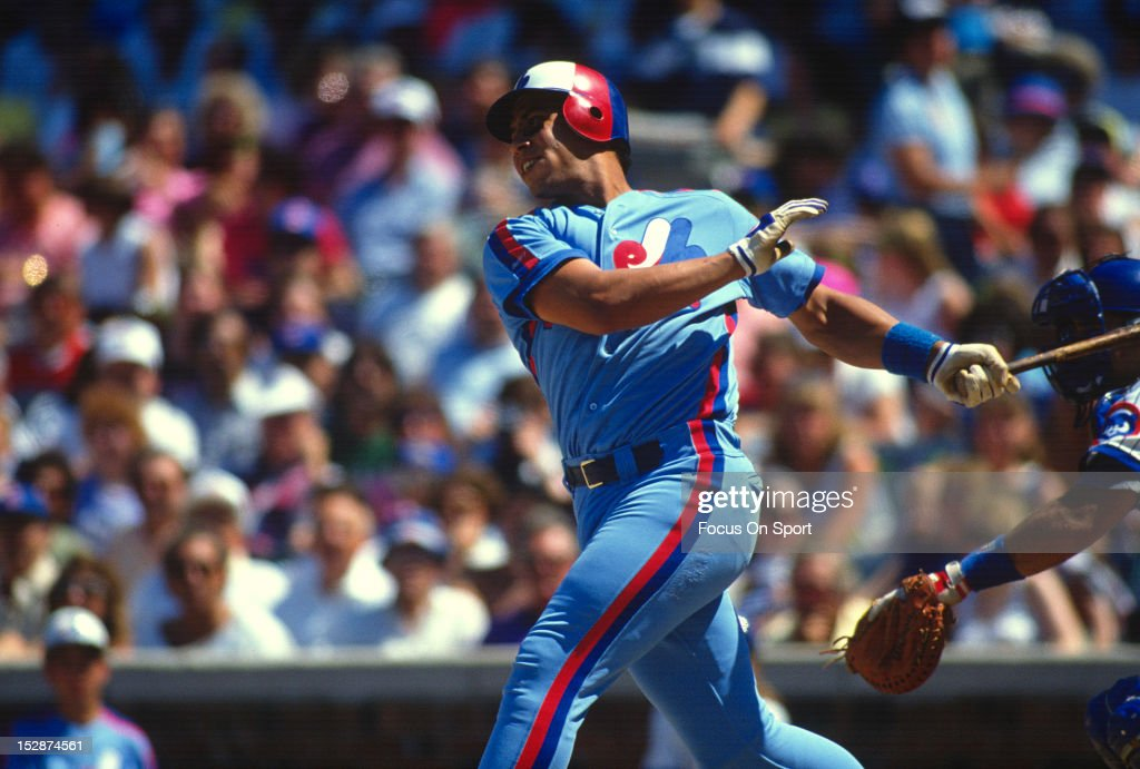 Andres Galarraga of the Montreal Expos bats against the Chicago Cubs during an Major League Baseball game 1988 at Wrigley Field in Chicago Illinois...