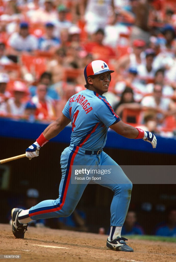 Andres Galarraga of the Montreal Expos bats against the New York Mets during an Major League Baseball game circa 1986 at Shea Stadium in the Queens...