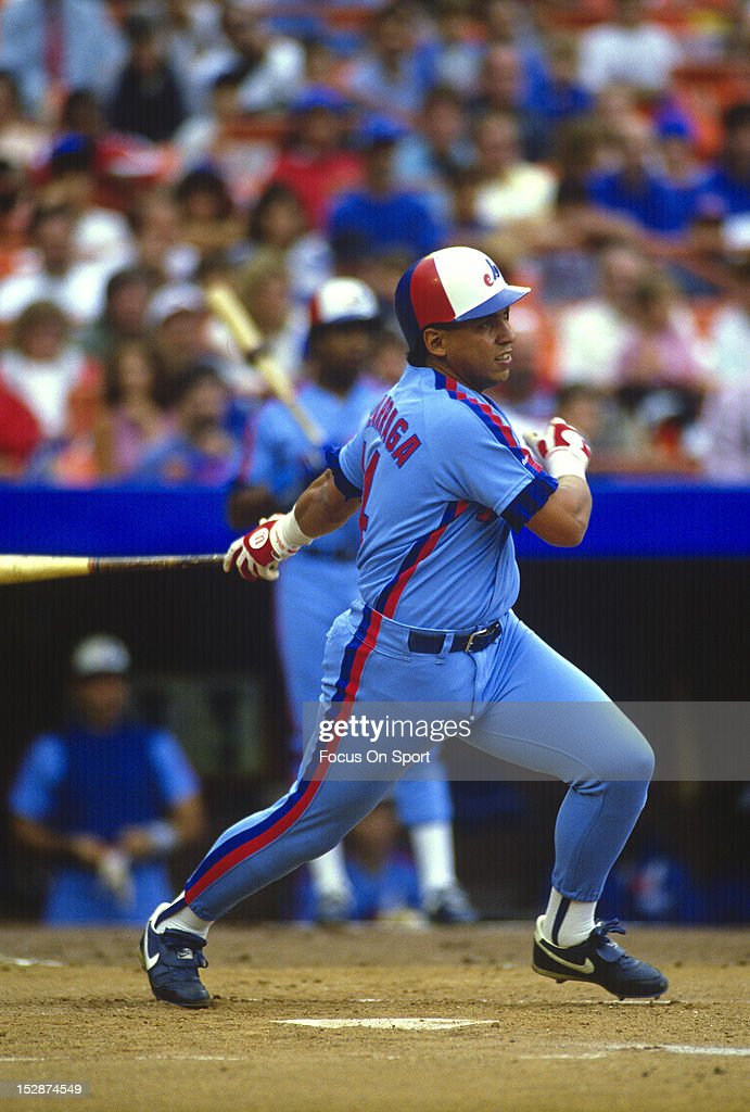Andres Galarraga of the Montreal Expos bats against the New York Mets during an Major League Baseball game circa 1988 at Shea Stadium in the Queens...