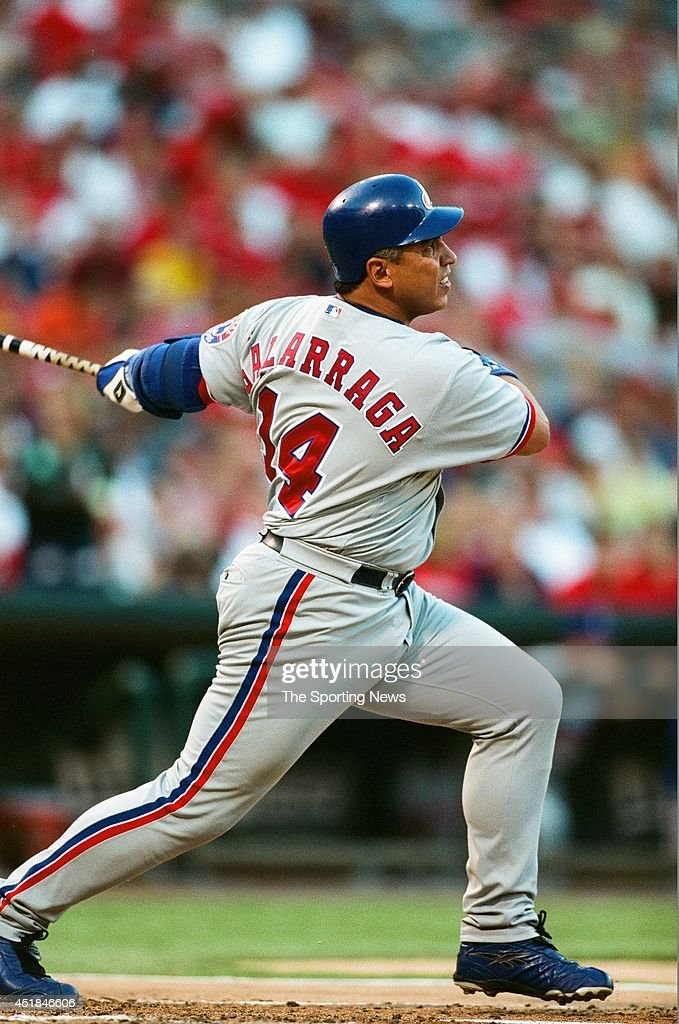 Andres Galarraga of the Montreal Expos bats against the St Louis Cardinals at Busch Stadium on August 8 2002 in St Louis Missouri The Cardinals won 53