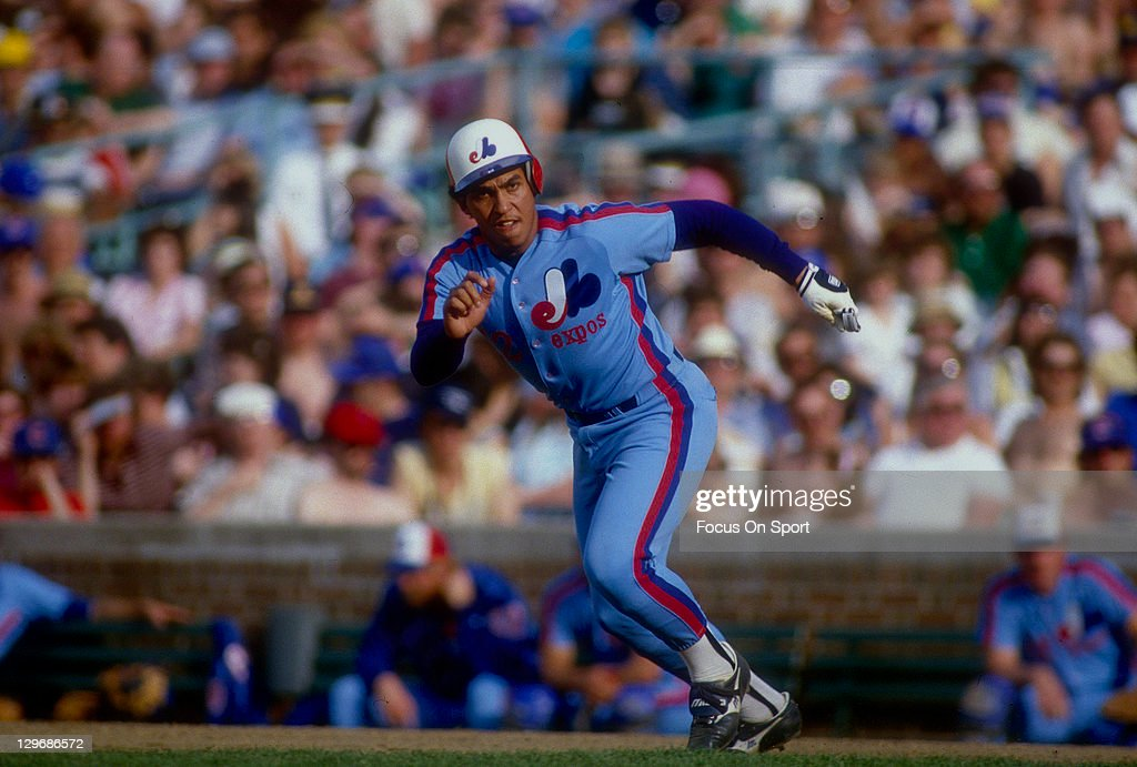 Andres Galarraga of the Montreal Expos takes off from first base against the Chicago Cubs during an Major League Baseball game 1990 at Wrigley Field...