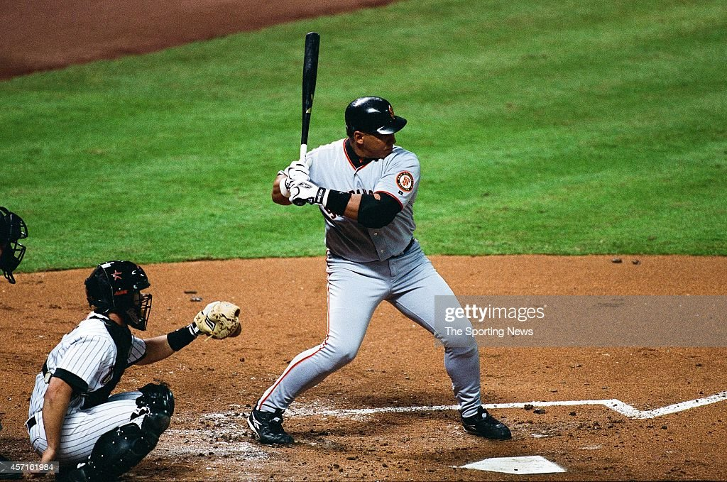Andres Galarraga of the San Francisco Giants bats against the Houston Astros on OCTOBER 3 2001 at Minute Maid Park in Houston Texas